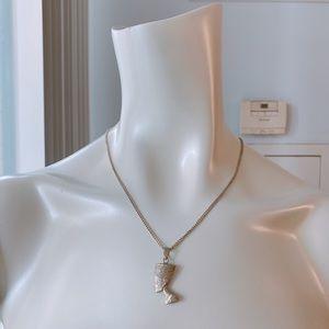 Queen Nefertiti Sterling Silver Pendant Necklace